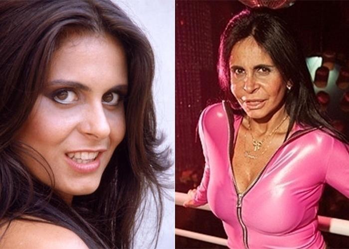 17.nov.2013 - Você reconheceu? A morena da foto à esquerda é Gretchen no início da carreira, ainda na década de 1970