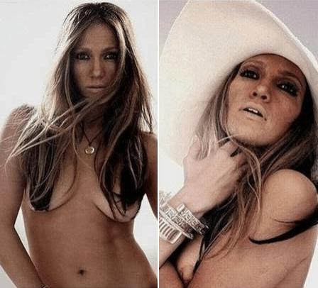 """30.nov.2013 - Imagens da cantora Jennifer Lopez sem truques de Photoshop circularam pela internet durante a semana. À esquerda, uma das fotos que foram rejeitadas para o álbum """"Rebirth"""", mostrando uma silhueta mais natural e alguns """"pneuzinhos"""". À direita, a imagem que foi escolhida do ensaio para ilustrar o álbum"""