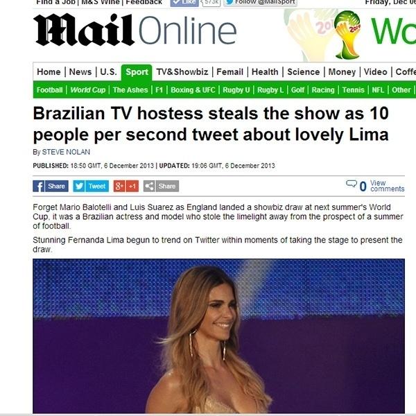 6.dez.2013 - O tabloide britânico Daily Mail chamou atenção para a popularidade de Fernanda Lima no Twitter durante apresentação do sorteio dos grupos da Copa