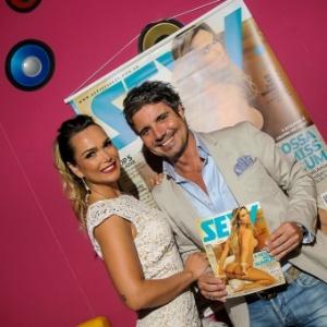 """Vice-Miss Bumbum 2013, Eliana Amaral e o apresentador João Kléber no lançamento da revista """"Sexy"""""""