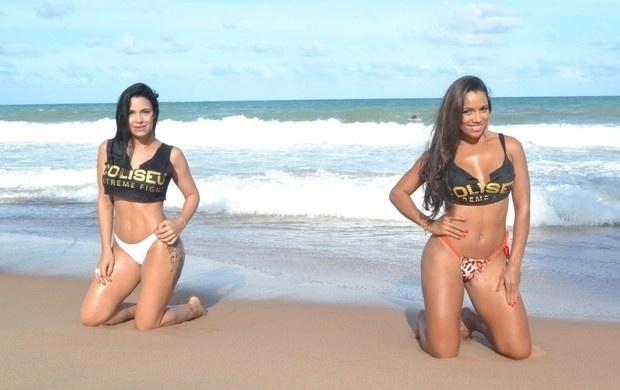 13.mar.2014 - As ring girls Thays Leão (esq.) e Katiely Kathissumi chamaram atenção em ensaio provocante em uma praia. Segundo o SporTV, que não informou o local das fotos, as gatas já foram musas do Bahia e do Internacional, respectivamente