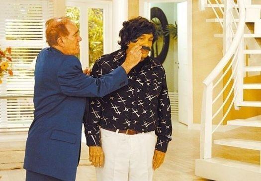 """2008 - Os humoristas Renato Aragão (Didi) e Dedé Santana gravam o """"A Turma do Didi"""", da Rede Globo"""