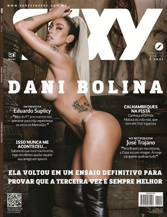 21.mar.2013 - Dani Bolina estampa capa e recheio da revista Sexy do mês de abril. Uma das locações do ensaio com a bela morena foi uma oficina