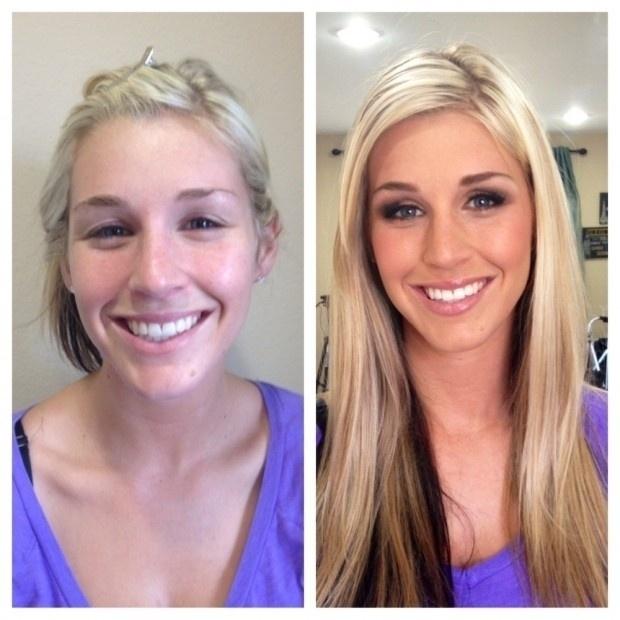 Com aplique nos cabelos e uma maquiagem para pequenos reparos na pele, a moça chama atenção pelo seu tom de pele e sorriso