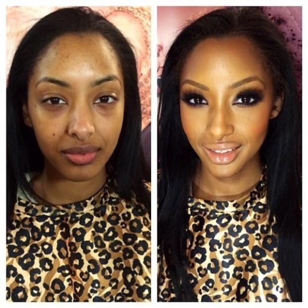 Deixando para trás uma aparência cansada, o maquiador realça a beleza dos olhos e da boca da jovem