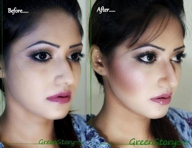 Nesta imagem, chama atenção o efeito da maquiagem no nariz da jovem, que ganha uma aparência diferente à foto anterior
