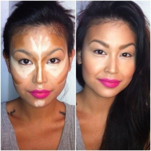 Nesta imagem é possível ver os pontos estratégicos do rosto em que se deve aplicar a maquiagem