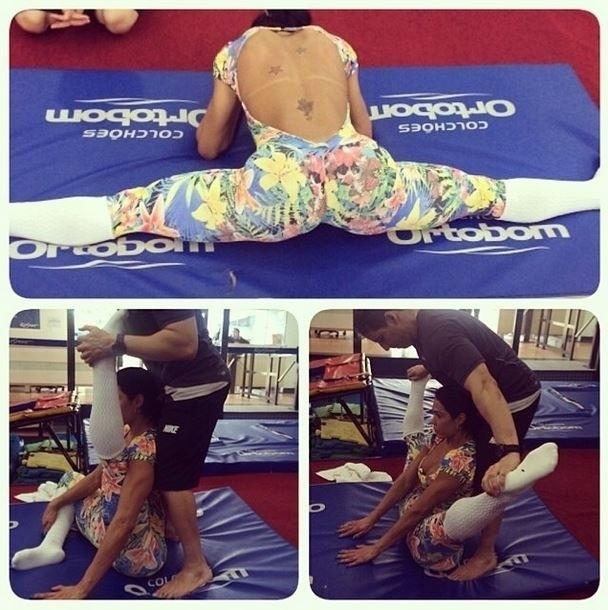 23.abr.2014 - Gracyanne Barbosa mostrou que os treinos da academia não são focados apenas em musculação. A beldade postou em seu Instagram uma foto na qual aparece fazendo um alongamento invejável. Quanta flexibilidade!