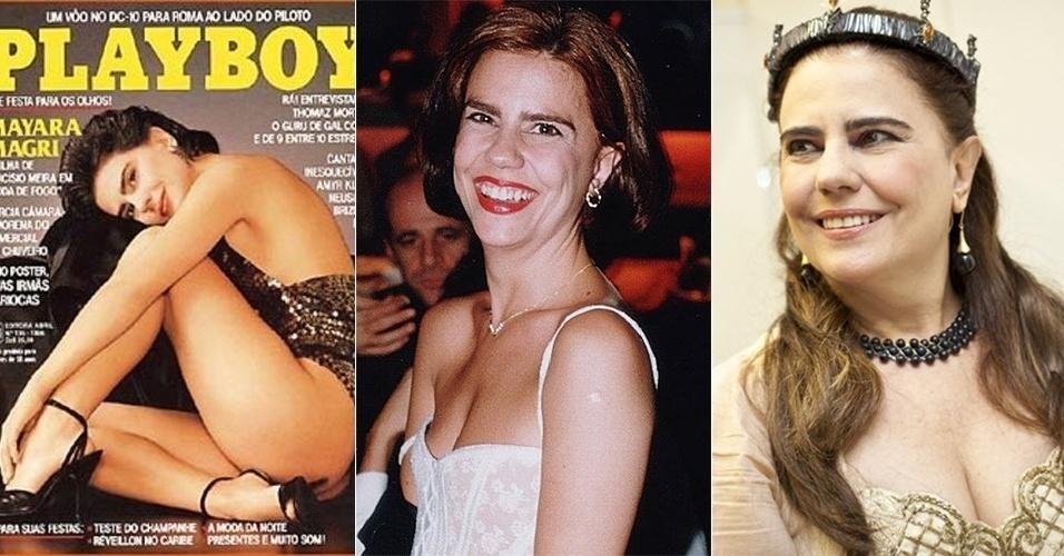 """23.abr.2014 - Mayara Magri tem 51 anos e já esteve entre as musas dos anos 80 (foi capa da Playboy em 1986), além de ter trabalhado em obras importantes da TV brasileira, como """"O Salvador da Pátria (Globo - 1989), """"Éramos Seis"""" (SBT-1994), """"Escrava Isaura"""" (Record-2004) e """"Toma Lá Dá Cá"""" (Globo-2009), está dando vida à rainha Elizabeth (à dir.) na peça """"Ricardo 3°"""", em São Paulo. Mayara Magri foi casada com o diretor Herval Rossano de 2005 a 2007, quando ele morreu vítima de problemas no coração. Atualmente, Mayara vive um romance com o ator Flávio Galvão"""