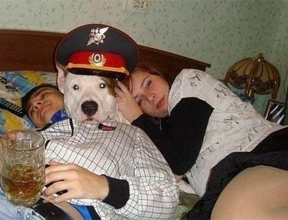 Cachorro segurando uma cerveja? Não, o cão apenas entrou no meio do casal e ainda serviu de travesseiro para a moça
