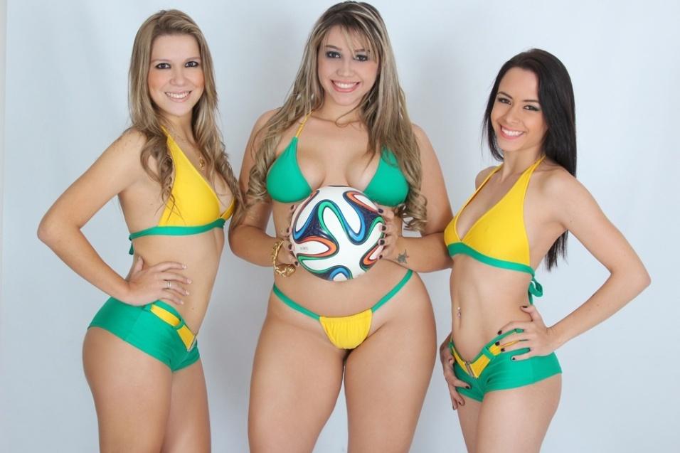 3.jun.2014 - Jéssica Caroline, Anna Cristina e Laiz Monticelli, candidatas do Concurso Musa das Torcidas da Copa do Mundo