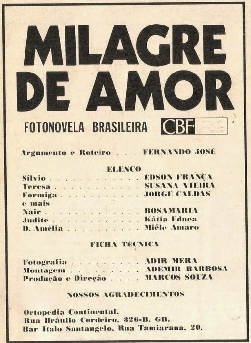 """Ficha técnica da fotonovela """"Milagre de Amor"""", estrelada pela atriz Susana Vieira"""