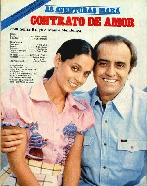 """Já em """"Contrato de Amor"""", Sonia Braga fez par romântico com Mauro Mendonça"""