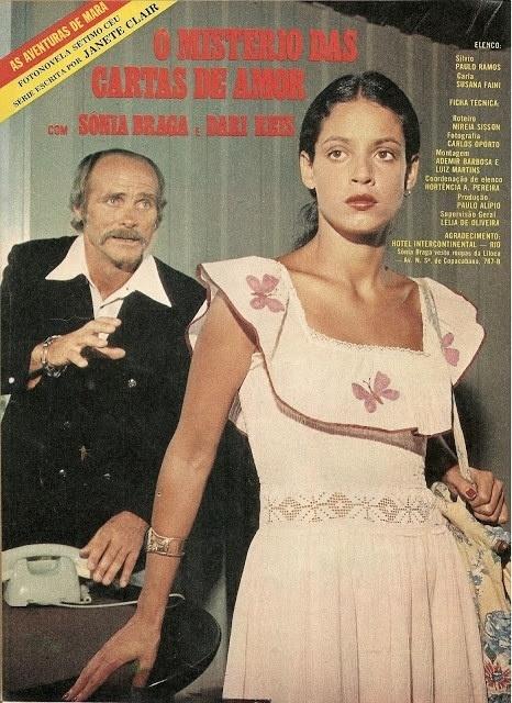 """Sonia Braga também estrelou fotonovelas, como """"O Mistério das Cartas de Amor"""", trama em que a morena recebia cartas de um admirador secreto"""