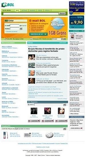 A reformulação do portal em 2007 começou com o aumento de espaço da caixa postal para 1GB e a inclusão de notícias em destaque na home page