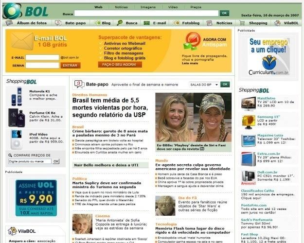 Ainda em 2007, a home page foi completamente reformulada, valorizando conteúdo próprio e de parceiros