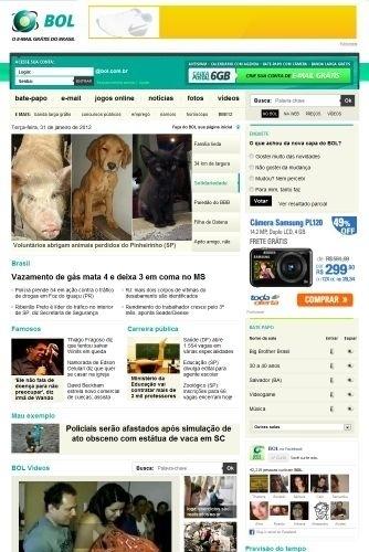 Com estreia em 1º de fevereiro de 2012, a nova home page do BOL ganhou letras e imagens maiores, além de mais espaço para notícias