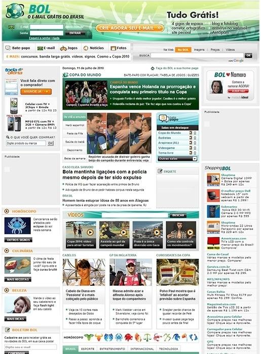 Em 2010, o portal dedicou espaço para a Copa do Mundo da África do Sul com visual temático e páginas especiais para a competição