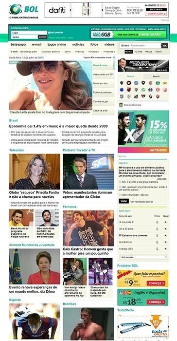 Em 2013, a nova home page cresceu, passando a oferecer mais conteúdo