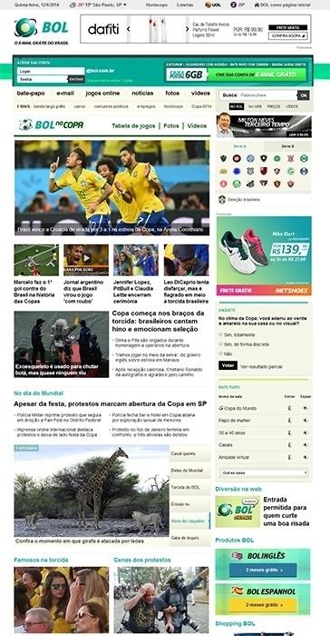 Na Copa 2014, o BOL ganhou um módulo especial, com foto no topo da home page, para trazer os principais destaques do Mundial no Brasil
