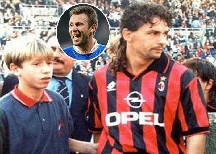 """1995 - O italiano Antônio Cassano, então com 13 anos, tieta o ídolo Roberto Baggio quando este era jogador do Milan. Fato curioso: Cassano, que viria a ser o camisa 10 da seleção italiana na Copa 2014, torce para a Inter de Milão, rival dos """"rossoneri"""""""
