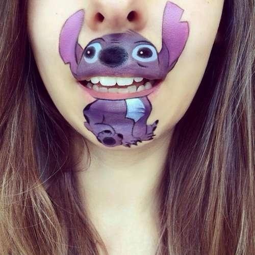 """22.ago.2014 - Stitch, do filme """"Lilo & Stitch"""", é um dos personagens desenhados pela maquiadora Laura Jenkinson em seu próprio rosto"""