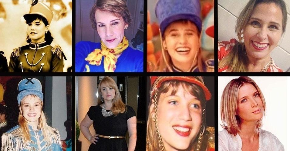 """Nos anos 80, Andreia Veiga (acima, à esq.), Andréia Faria (acima, à dir.), Ana Paula Almeida (abaixo, à esq.) e Luise Wischermann (abaixo, à dir.) não poderiam andar nas ruas sem disfarce. Na época, elas, que ainda eram adolescentes, faziam um enorme sucesso como as paquitas do """"Xou da Xuxa"""". O primeiro disco do grupo, lançado em 1989, vendeu quase 1 milhão de cópias em menos de um ano. """"O sucesso não foi calculado. No início, era amador. Nós mesmas enchíamos as bexigas para os programas"""", diz Andréia Faria, a Sorvetão. A fama repentina também fez com que as garotas perdessem boa parte da adolescência. """"Nem pude estudar, completei o 2º grau com mais de 20 anos"""", declarou Andrea Veiga, que hoje é jornalista e atriz"""