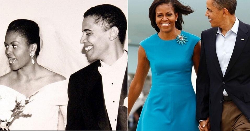 5.out.2014 - Michelle Obama publicou em sua conta no Instagram uma foto antiga de seu casamento com Barack Obama para comemorar os 22 anos de casados (imagem à esq., de 1992). Na imagem à direita, o casal é clicado em evento em Ohio, em maio de 2012. Comparando as duas imagens, chama a atenção como o casal não mudou com o passar dos anos, e ambos continuam enxutos