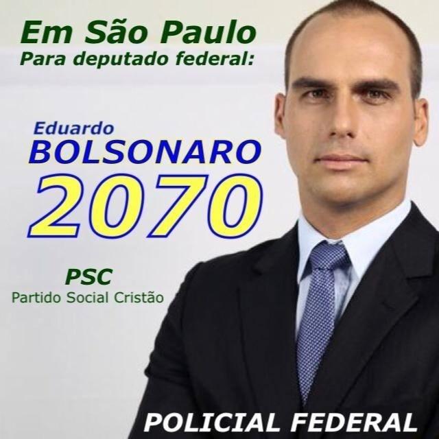 Eduardo Bolsonaro, do PSC, teve 82.224 votos (0,39% dos votos válidos)