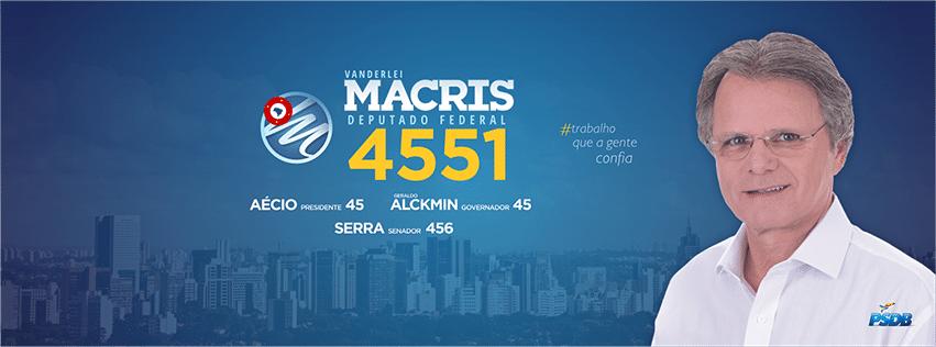 Vanderlei Macris, do PSDB, teve 148.449 votos (0,71% dos votos válidos)