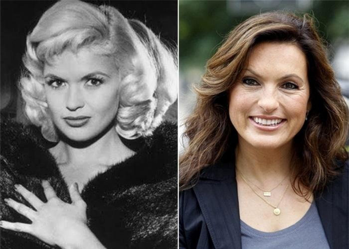 Jayne Mansfield (1933-1967), à esquerda, foi uma das musas do cinema norte-americano. À direita, Mariska Hargitay, filha de Jayne