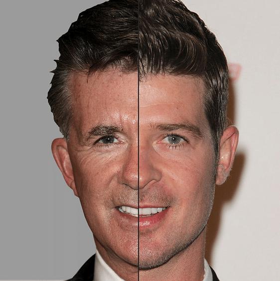 Montagem do BuzzFeed mostrou que Alan Thicke (esq.) e Robin Thicke, pai e filho, são praticamente idênticos!