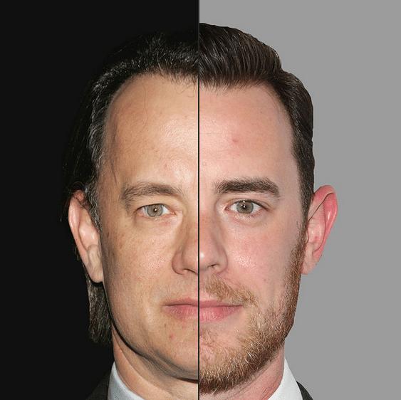 Quem é quem na montagem do site BuzzFedd? À esquerda, Tom Hanks. O filho, Colin, é a cara do pai famoso