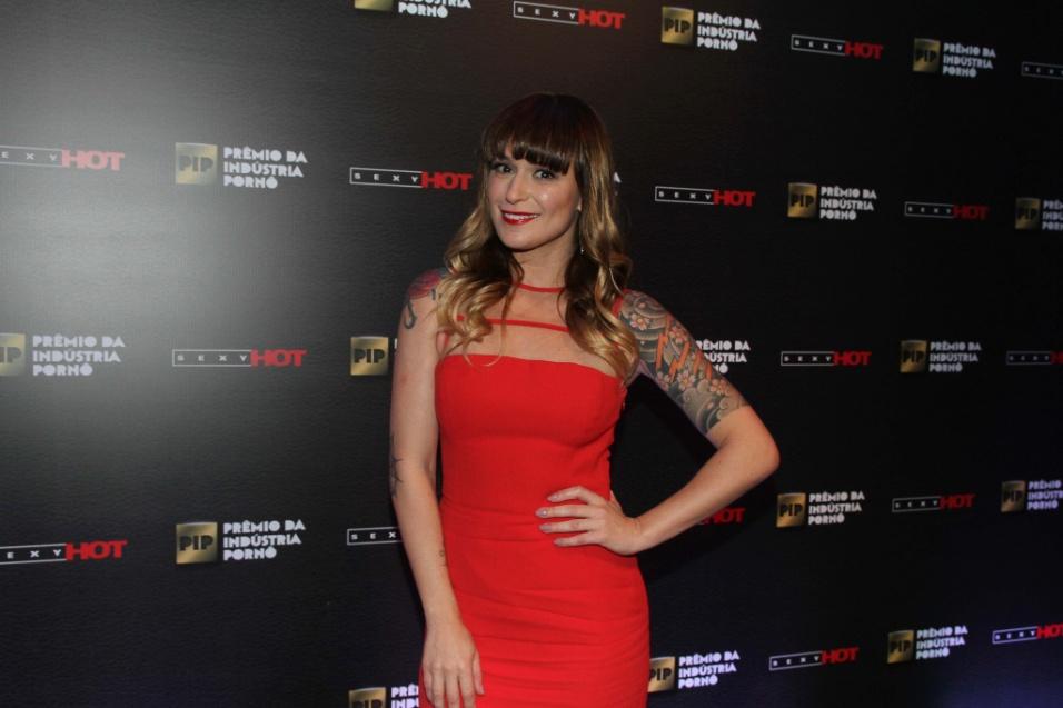 14.out.2014 ? Repórter do Sexy Hot, a ex-BBB Bianca Jahara foi responsável pela cobertura do evento. Além disso, Bianca também foi responsável pela entrega de um dos troféus entregue aos atores