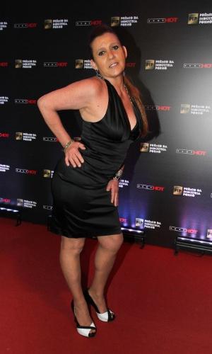 14.out.2014 ? A ex-chacrete e ex-atriz pornô Rita Cadillac é clicada no tapete vermelho do Prêmio da Indústria Pornô