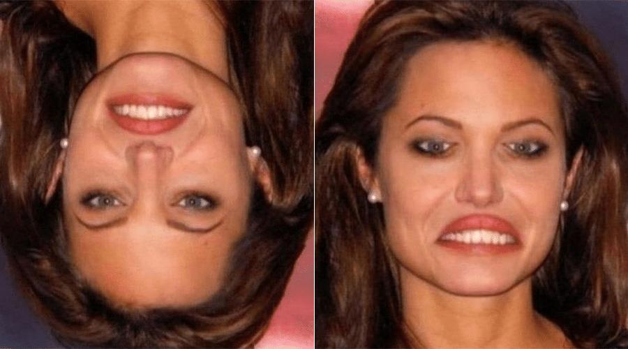 É a Angelina Jolie? Parece bastante, mas uma coisa é certa de fato... a mulher da imagem à esquerda é muito bonita, não é mesmo? É? Tem certeza? Vire a cabeça 180º e descubra que as aparências enganam! A foto à direita mostra o resultado da imagem invertida com uma mulher que, com certeza, não faria Brad Pitt perder a cabeça