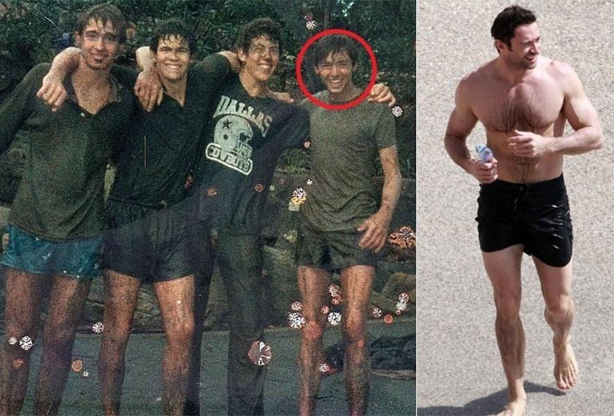 """6.nov.2014 - O ator australiano Hugh Jackman, de 46 anos, publicou uma imagem de quando era garoto em sua conta no Instagram e revelou um segredo da juventude: o seu apelido. """"Agora vocês entendem por que eles me chamam de graveto"""", escreveu Jackman, fazendo alusão às pernas finas na imagem de 1985 (esq.), quando tinha 17 anos, em que aparece ao lado de amigos. De fato, o tempo fez muito bem ao ator, que conquistou um corpo musculoso. Para efeito de comparação, a foto à direita mostra Jackman curtindo uma praia em 2010, aos 42 anos"""