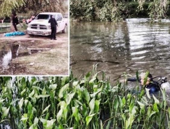 Jul.2014 - Bombeiros resgataram o corpo de uma garota que se afogou ao tentar fazer uma selfie nas margens do rio El Tunal, em Duarango, no México. A vítima, Karen Hernández, tinha 13 anos