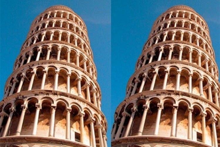 A fotografia á direita da Torre de Pisa, na Itália,  parece estar mais inclinada. Na verdade, as duas imagens são iguais, mas estão paralelas na montagem