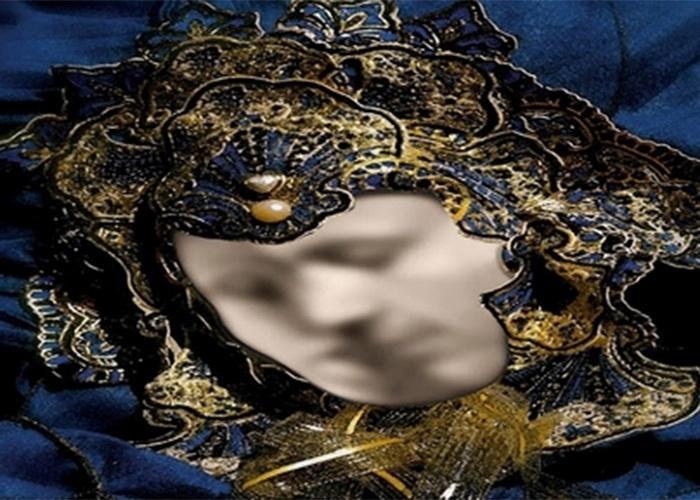 Será o rosto de um homem emoldurado em uma máscara? Não. Olhe novamente e perceba que existem duas pessoas se beijando dentro da moldura