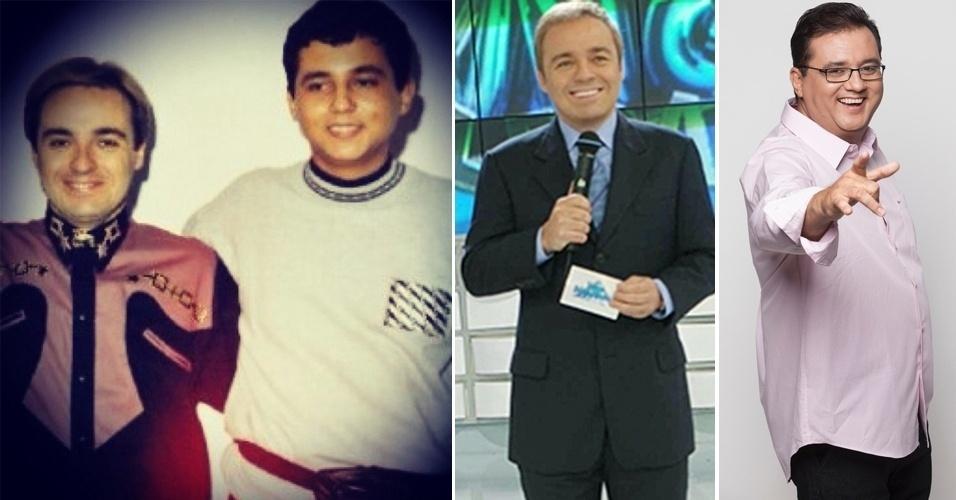"""3.jan.2015 - Na foto, Gugu aparece bastante jovem ao lado do também apresentador Geraldo Luis. A foto, divulgada pelo """"Fã Clube do Gugu"""", no Instagram, é da década de 80"""