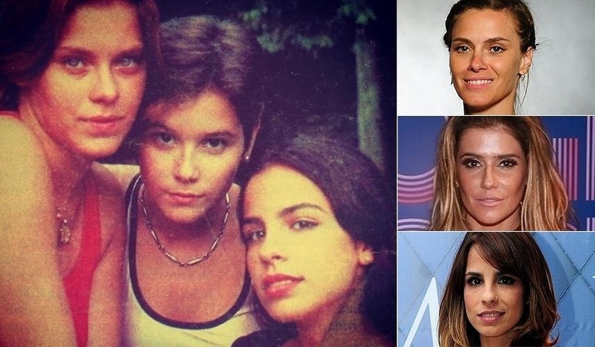 """8.jan.2015 - Maria Ribeiro revirou seu baú de lembranças e publicou uma foto ao lado de Carolina Dieckmann e Deborah Secco em 1996, quase 20 anos atrás. Na imagem antiga, Dieckmann (esq.), com 16 anos, aparece com o rosto mais redondo. Deborah (centro), com 15 na época, usava os cabelos curtinhos, e Maria, com 21 anos, tinha o mesmo rosto que mostra atualmente no ar como Danielle, em """"Império"""". As fotos à direita mostram as atrizes atualmente"""