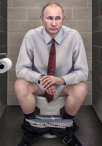 14.jan.2015 - A artista italiana Cristina Guggeri fez uma galeria de imagens curiosas para mostrar que os grandes líderes mundiais são gente como a gente. Com montagens que mostram lideranças sentadas em vasos sanitários, ela criou a série