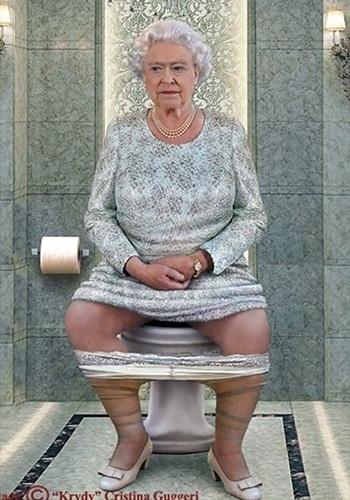 14.jan.2015 - A artista italiana Cristina Guggeri fez uma galeria de imagens curiosas para mostrar que os grandes líderes mundiais são gente como a gente. Na imagem. a rainha Elizabeth aparece fazendo o 'chamado da natureza'