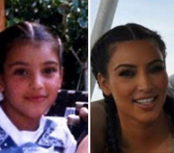 """16.jan.2015 - Kim Kardashian foi surpreendida por um comentário em seu perfil no Instagram. Ao postar uma montagem em que aparece ainda criança, com seis anos (foto à esq.), a socialite escreveu: """"Algumas coisas nunca mudam"""". Entre os comentários, um fã respondeu: """"Exceto o silicone em sua bunda"""". Será que ela concorda?"""