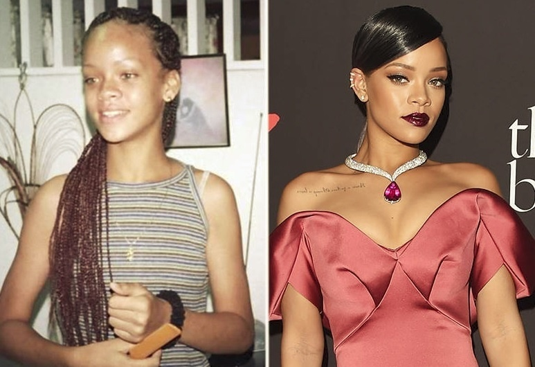 19.jan.2015 - Rihanna sempre quis ser estilosa. Você consegue imaginar as divas do pop quando não eram famosas? O álbum reúne fotos que mostram o antes e o depois de 9 cantoras. Algumas mudanças são incríveis!