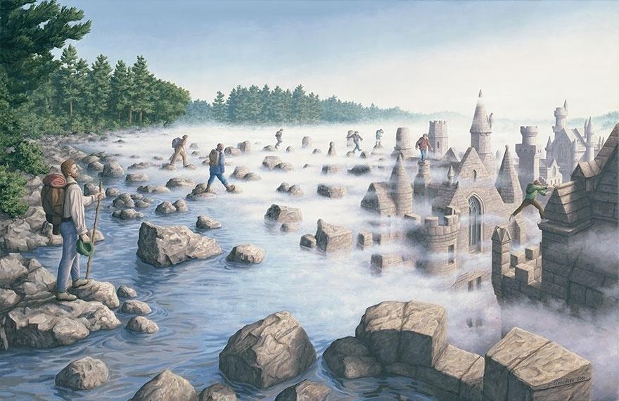 12.mar.2015 - O artista canadense Rob Gonsalves está fazendo sucesso na web com a divulgação de uma série de ilustrações que desafiam a mente. Nas imagens, o desenhista mescla duas realidades distintas em um cenário que parece se completar, criando ilusões que confundem o nosso cérebro