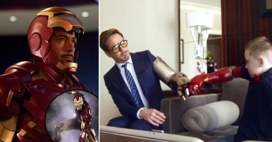 13.mar.2015 - O ator Robert Downey Jr., que vive o super-herói Homem de Ferro no cinema (esq.), fez uma parceria com a empresa Limbitless Solutions, uma organização voluntária de engenharia que faz produtos a partir de impressoras 3D, para presentear Alex, um fã de sete anos de idade. O garoto, que nasceu sem parte do braço direito, havia sido informado que encontraria um especialista em biônica e teve uma grande surpresa ao dar de cara com o ator, que foi encarnando o personagem Tony Stark, alter-ego do Homem de Ferro. Downey então se sentou com o garoto e abriu duas caixas prateadas. De uma, tirou uma prótese eletrônica de braço com o design da armadura do super-herói. Da outra, tirou um braço da armadura do Homem de Ferro, que ele vestiu para brincar com o menino. As informações são da Variety.