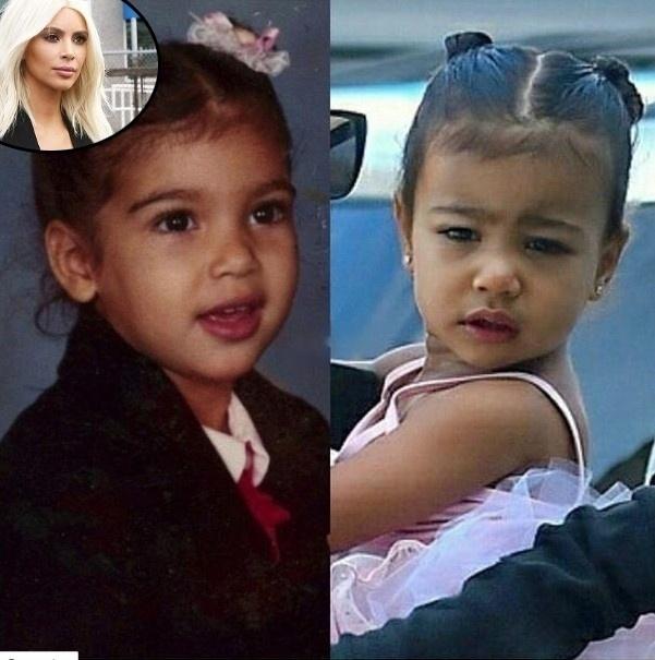 """20.mar.2015 - Kim Kardashian publicou foto de quando era bebê e comparou com a filha, North (à dir.). """"Minha princesa e eu com a mesma idade. North é literalmente a garota mais fofa e engraçada que conheço!"""", escreveu ela em seu Facebook"""