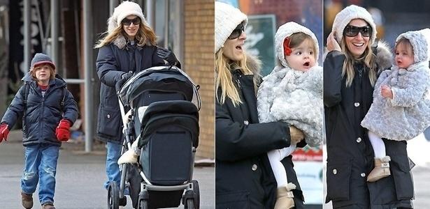 11.jan.2011 - Sarah Jessica Parker leva o filho James ao colégio, acompanhada das filhas gêmeas Marion e Tabitha, em Nova York (11/1/11). As crianças são filhas do ator Matthew Broderick, marido de Sarah Jessica
